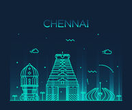 Chennai skyline trendy vector illustration linear Stock Photography