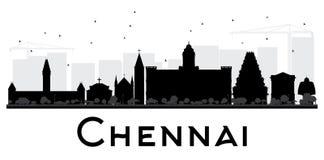 Chennai-Stadtskyline-Schwarzweiss-Schattenbild lizenzfreie abbildung