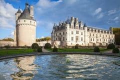 Chenonceau,中世纪法国城堡门面 免版税库存照片
