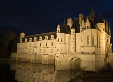 Chenonceau castle. The romantic Chenonceau castle by night stock image