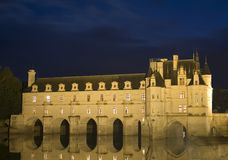 Chenonceau castle. The romantic Chenonceau castle by night Royalty Free Stock Photo