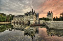 Chenonceau Castle, France. Wide dark scene of Chenonceau Castle, France at sunset Royalty Free Stock Image