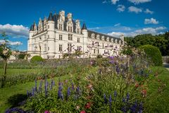 Chenonceau castle in France, popular touristic destination royalty free stock image
