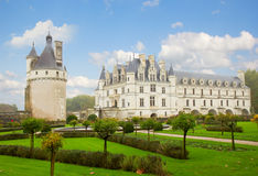 Chenonceau castle with garden, France Stock Photo