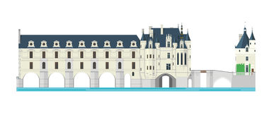 Chenonceau Castle, Loire Valley, France. Vector illustration. Chenonceau Castle, Loire Valley, France. Isolated on white background vector illustration Stock Photos