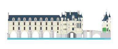 Chenonceau Castle, Loire Valley, France. Vector illustration. Stock Photos