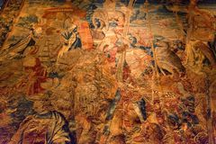 CHENONCEAU, FRANCE - CIRCA JUNE 2014: Beautiful tapestry in Chenonceau castle stock photo