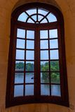 CHENONCEAU, FRANCE - CIRCA JUNE 2014: View from window of Chenonceau castle from inside. CHENONCEAU, FRANCE - CIRCA JUNE 2014: View from window at the Chateau de Stock Image