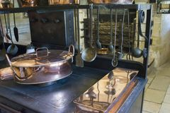Kitchen in the castle of Chenonceau stock photos