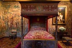 CHENONCEAU, FRANKRIJK - CIRCA JUNI 2014: De slaapkamer Chateau Chenonceau van Catherine DE ` Medici ` s royalty-vrije stock afbeeldingen