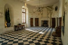 Chenonceau gallery in the summer in a french loire castle royalty free stock photography