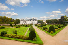 Chenonceau garden and castle, France Stock Images