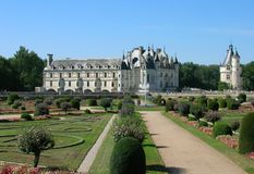Chenonceaux Castle. Panoramic view of Chenonceaux Castle in France Royalty Free Stock Photo