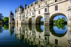 Chenonceau Castle in Loire Valley, France. Chenonceaux, France - July 07 2017: The Renaissance Chateau de Chenonceau, built in the XVIth century, is one of the Stock Photos