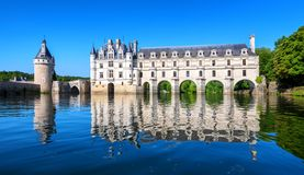 Chenonceau Castle in Loire Valley, France, panoramic view stock photos