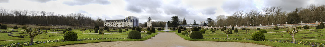 Chenonceaux panorama. The Château de Chenonceau is a castle near the small village of Chenonceaux, in the Indre-et-Loire département of the Loire Valley in Stock Images