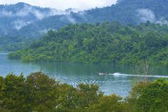 Cheo Lan lake in Khao Sok National park, Thailand. Landscape of a rainforest in Khao Sok National park. Thailand Royalty Free Stock Photography