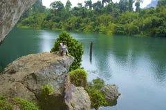 Cheo Lan lake in Khao Sok National park, Thailand. Landscape of a rainforest in Khao Sok National park. Thailand Stock Images