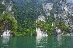 Cheo Lan lake in Khao Sok National park, Thailand. Landscape of a rainforest in Khao Sok National park. Thailand Royalty Free Stock Photo