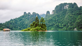Cheo Lan Lake in Khao Sok, Suratani, Thailand.Rainy Clouds. Cheo Lan Lake in Khao Sok, Suratani, Thailand. Rainy Clouds. Low Season Stock Image