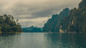 Cheo Lan Lake in Thailand.Rainy Clouds. Cheo Lan Lake in Thailand. Rainy Clouds. Low Season Royalty Free Stock Photos