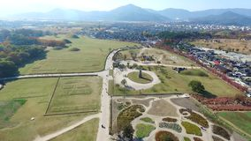 Cheomseongdae is the oldest existing astronomical observatory in Asia. Gyeongju was the capital of the Silla Kingdom for thousand years. Gyeongju, South Korea stock footage