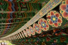 Cheonchuksa Temple roof, Dobongsan National Park, Seoul, Korea stock photos