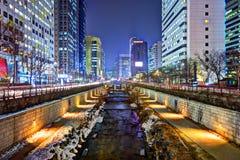Cheonggyecheon στη Σεούλ Στοκ Εικόνες