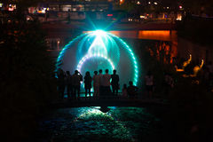 Cheonggyecheon Laser Show Circle Tourists Seoul Stock Photography