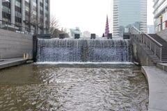 Cheonggyecheon plac w zimie Fotografia Royalty Free