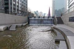 Cheonggyecheon plac w zimie Obrazy Stock