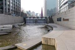 Cheonggyecheon plac w zimie Zdjęcia Stock