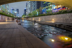 Cheonggyecheon Stream in Seoul at dusk Royalty Free Stock Image