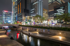Cheonggyecheon Stream in Seoul at dusk Stock Image
