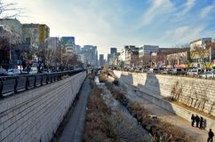 Cheonggyecheon Stream is a recreation space in downtown Seoul, South Korea. Stock Photography