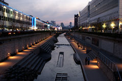 Cheonggyecheon-Strom Stockbild