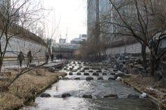 Cheonggyecheon w zimie Zdjęcie Royalty Free