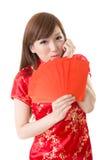 Красная женщина китайца габарита Стоковые Фотографии RF