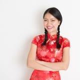 Cheongsam chino asiático de la muchacha Fotografía de archivo libre de regalías