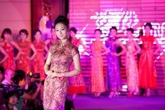 Cheongsam przedstawienia pierwszy chybienie Jiangxi Międzynarodowy konkurs Fotografia Royalty Free
