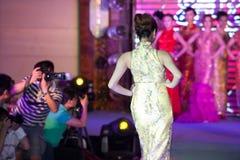 Cheongsam przedstawienia pierwszy chybienie Jiangxi Międzynarodowy konkurs Fotografia Stock