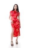 Cheongsam tradicional do vestido chinês da mulher fotos de stock