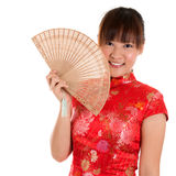 Cheongsam woman and fan Royalty Free Stock Photo
