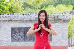Cheongsamviering in Chinees Nieuwjaar, Gong xi fattchai Stock Fotografie