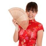 Cheongsamvrouw en ventilator Royalty-vrije Stock Foto