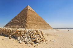 Cheops pyramid in Giza. The Great Pyramid of Giza (also known as the Pyramid of Khufu or the Pyramid of Cheops) is the oldest and largest of the three pyramids Stock Photos