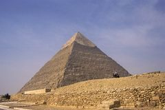 Cheops Pyramid near Cairo, Egypt a025. Probably the most photographed pyramid in the world.  They are still exploring the inside of the pyramid.  It is right Royalty Free Stock Image