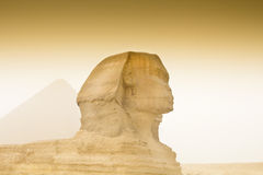 Cheops pyramid and sphinx in Egypt Stock Photography