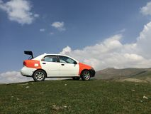 Aveo car. A cheoverlete aveo car in a green nature royalty free stock photos