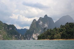 Limestone rock landscape view - Cheow lan lake, Khao Sok, Thailand Royalty Free Stock Photography